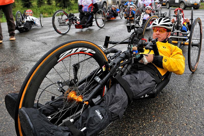 July 19, 2013: Sadler's Alaska Challenge Stage Five from Milepost 211 to Milepost 183. Peer Bartels (Leer, Germany) prepares for the start of stage five. Bartels finished the 28.2-mile stage in 1:24:15.