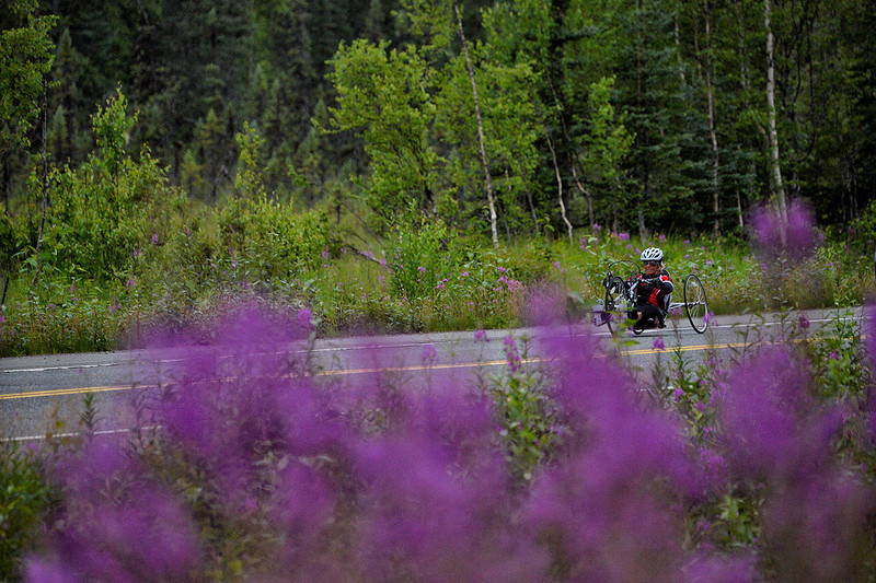 July 20, 2013: Sadler's Alaska Challenge Stage Six from Denali View South to Talkeetna Alaskan Lodge. Karin Korb (N. Lauderdale, Fla.) races along the Parks Highway during stage six. Korb finished the 49.4-mile stage in 3:21:02.