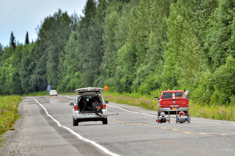 July 20, 2013: Sadler's Alaska Challenge Stage Six from Denali View South to Talkeetna Alaskan Lodge. KTUU photographer Albert Lutan uses a GoPro to shoot Rafal Wilk (Rzezow, Poland) and Walter Ablinger (Rainbach, Austria) as they race along the Parks Highway during stage six.
