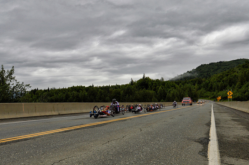 July 20, 2013: Sadler's Alaska Challenge Stage Six from Denali View South to Talkeetna Alaskan Lodge. The handcyclists race along the Parks Highway during stage six.