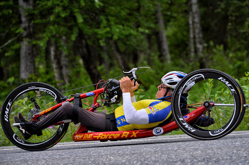 July 20, 2013: Sadler's Alaska Challenge Stage Six from Denali View South to Talkeetna Alaskan Lodge. Michael Postell (Snellville, Ga.) races along the Parks Highway during stage six. Postell finished the 49.4-mile stage in 2:32:14.