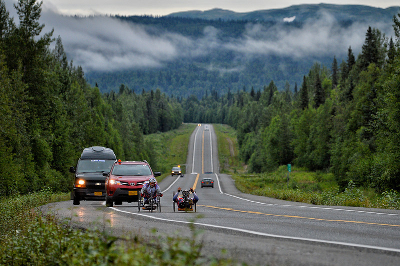 July 20, 2013: Sadler's Alaska Challenge Stage Six from Denali View South to Talkeetna Alaskan Lodge. Gerard Ah Fook (Tucson, Ariz.), Robert Puckett III (St. Petersburg, Fla.) and Michael Postell (Snellville, Ga.) race along the Parks Highway during stage six.
