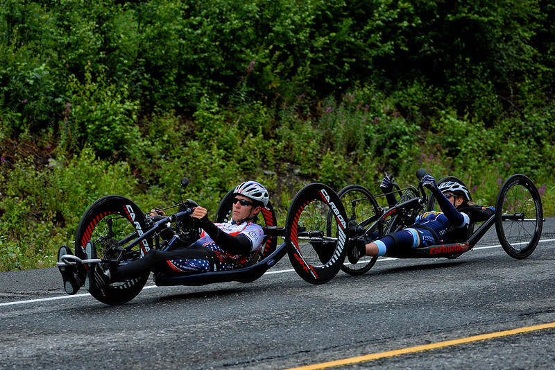 July 20, 2013: Sadler's Alaska Challenge Stage Six from Denali View South to Talkeetna Alaskan Lodge. Jacob Freeland (Asheville, N.C.) and Thea Rosa (Cool, Calif.) race along the Parks Highway during stage six.