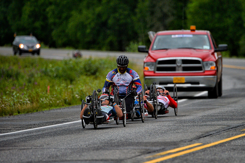 July 20, 2013: Sadler's Alaska Challenge Stage Six from Denali View South to Talkeetna Alaskan Lodge. Walter Ablinger (Rainbach, Austria), Alfredo de los Santos (Hopewell Junction, N.J.) and Rafal Wilk (Rzezow, Poland) race along the Parks Highway during stage six.