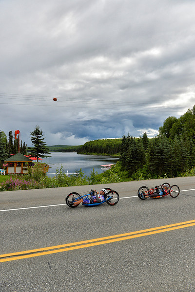 July 20, 2013: Sadler's Alaska Challenge Stage Six from Denali View South to Talkeetna Alaskan Lodge. Michael Bishop (Beech Island, S.C.) and Carrie Finale (Navarre, Fla.) race along Talkeetna Spur Road during stage six.