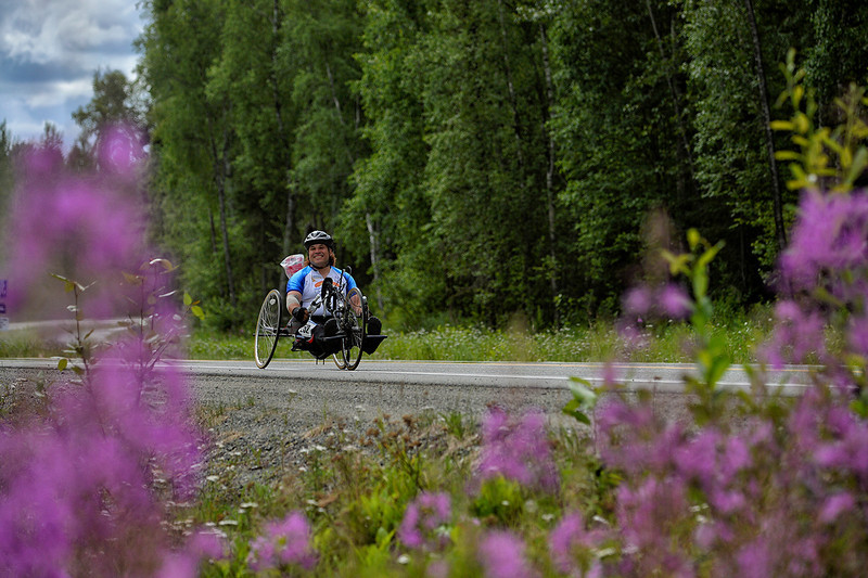 July 20, 2013: Sadler's Alaska Challenge Stage Six from Denali View South to Talkeetna Alaskan Lodge. Larry Coutermarsh (North Pole, AK) races along Talkeetna Spur Road during stage six. Coutermarsh finished the 49.4-mile stage in 3:52:06.