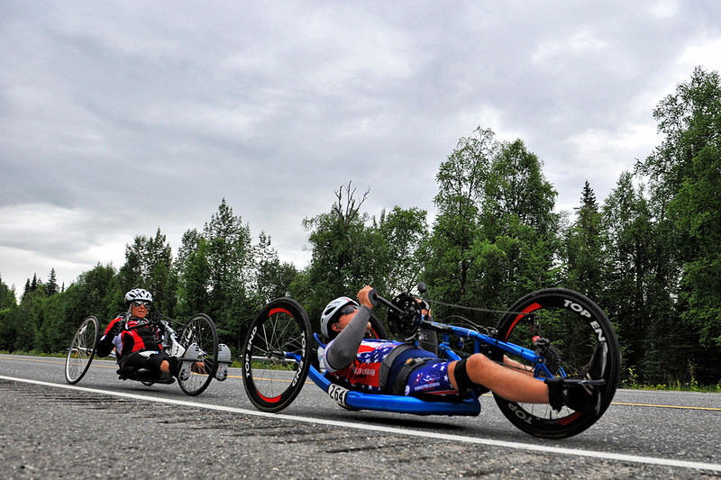 July 20, 2013: Sadler's Alaska Challenge Stage Six from Denali View South to Talkeetna Alaskan Lodge. Michael Bishop (Beech Island, S.C.) and Karin Korb (N. Lauderdale, Fla.) race along the Parks highway during stage six.