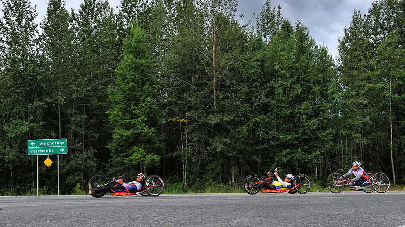 July 20, 2013: Sadler's Alaska Challenge Stage Six from Denali View South to Talkeetna Alaskan Lodge. Gerard Ah Fook (Tucson, Ariz.), Michael Postell (Snellville, Ga.) and Robert Puckett III (St. Petersburg, Fla.) make the turn onto Talkeetna Spur Road during stage six.