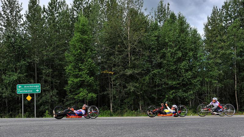 July 20, 2013: Sadler's Alaska Challenge Stage Six from Denali View South to Talkeetna Alaskan Lodge. Gerard Ah Fook (Tucson, Ariz.), Michael Postell (Snellville, Ga.) and Robert Puckett III (St. Petersburg, Fla.) make the turn onto Talkeetna Spur Road during stage six.