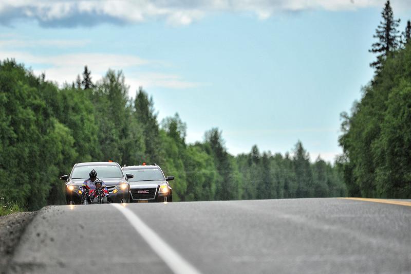 July 20, 2013: Sadler's Alaska Challenge Stage Six from Denali View South to Talkeetna Alaskan Lodge. Karin Korb (N. Lauderdale, Fla.) and Joseph Beimfohr (Wesley Chapel, Fla.) race along Talkeetna Spur Road during stage six.
