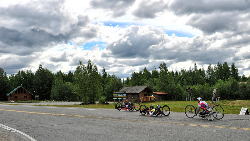 July 20, 2013: Sadler's Alaska Challenge Stage Six from Denali View South to Talkeetna Alaskan Lodge. Gerard Ah Fook (Tucson, Ariz.), Michael Postell (Snellville, Ga.) and Robert Puckett III (St. Petersburg, Fla.) head onto Talkeetna Spur Road during stage six.