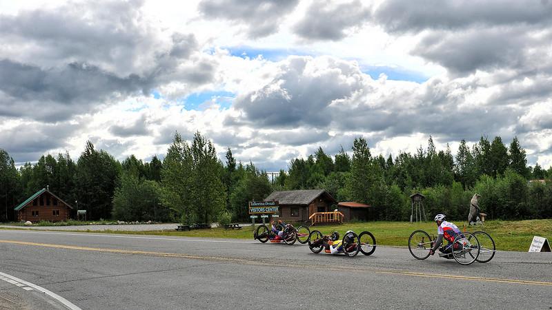 July 20, 2013: Sadler's Alaska Challenge Stage Six from Denali View South to Talkeetna Alaskan Lodge. Gerard Ah Fook (Tucson, Ariz.), Michael Postell (Snellville, Ga.) and Robert Puckett III (St. Petersburg, Fla.) head onto Talkeetna Spur Road during stage six.