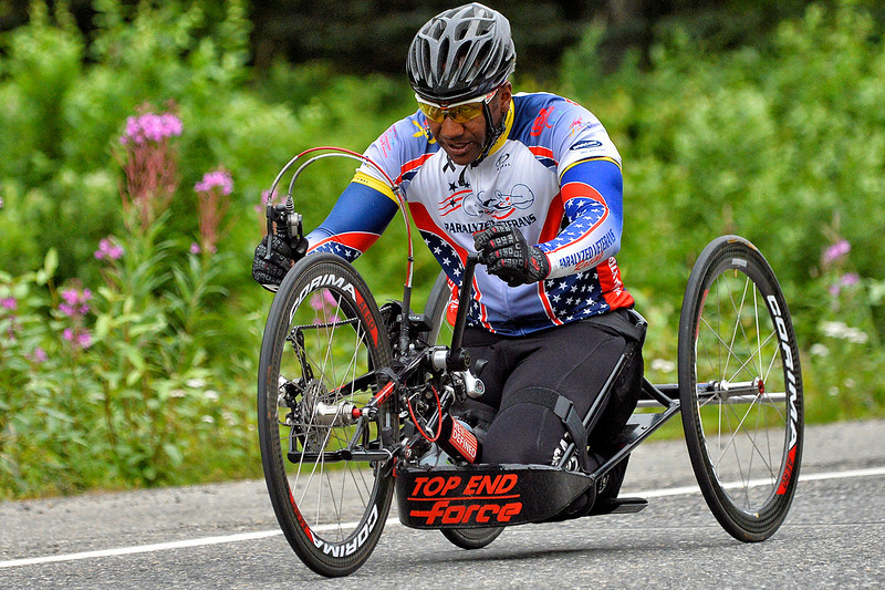 July 20, 2013: Sadler's Alaska Challenge Stage Six from Denali View South to Talkeetna Alaskan Lodge. Alfredo de los Santos (Hopewell Junction, N.J.) races along the Parks Highway during stage six. de los Santos finished the 49.4-mile stage in 2:12:01.