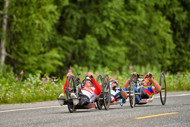 July 20, 2013: Sadler's Alaska Challenge Stage Six from Denali View South to Talkeetna Alaskan Lodge. Walter Ablinger (Rainbach, Austria), Rafal Wilk (Rzezow, Poland) and Butch Martin (Fishers, Ind.) race along the Parks Highway during stage six.