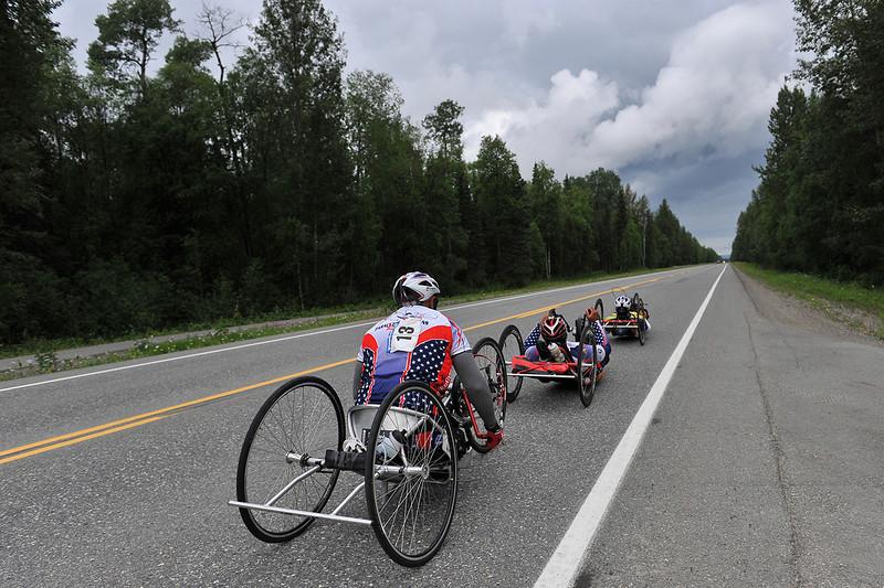 July 20, 2013: Sadler's Alaska Challenge Stage Six from Denali View South to Talkeetna Alaskan Lodge. Michael Postell (Snellville, Ga.), Gerard Ah Fook (Tucson, Ariz.) and Robert Puckett III (St. Petersburg, Fla.) race along Talkeetna Spur Raod during stage six.