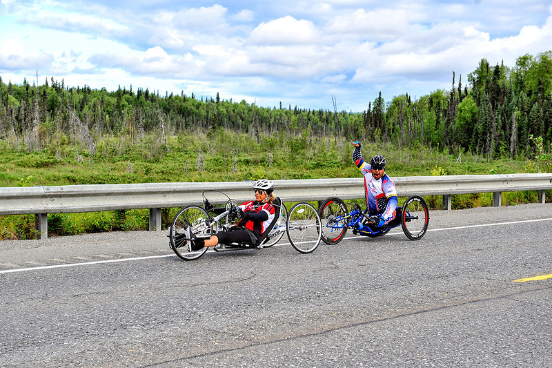 July 20, 2013: Sadler's Alaska Challenge Stage Six from Denali View South to Talkeetna Alaskan Lodge. Karin Korb (N. Lauderdale, Fla.) and Joseph Beimfohr (Wesley Chapel, Fla.) race along the Parks highway during stage six.