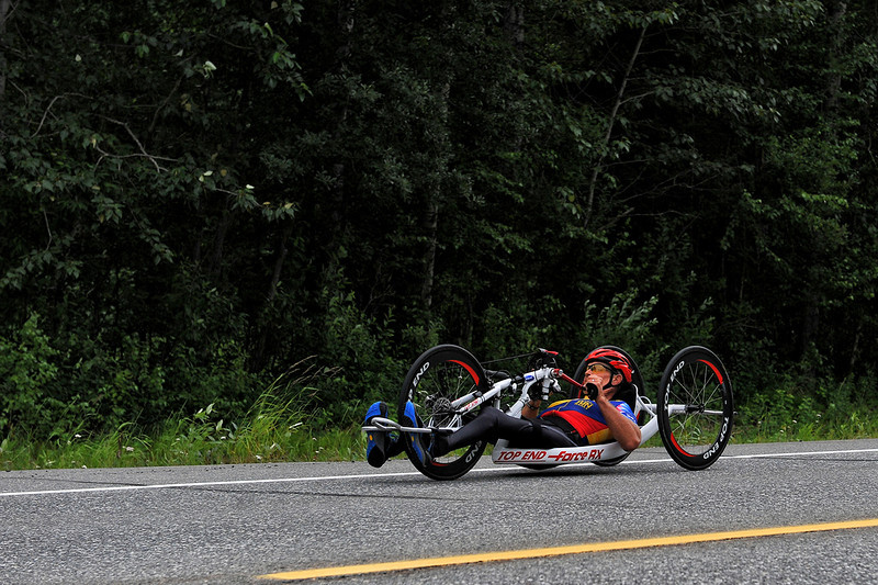July 20, 2013: Sadler's Alaska Challenge Stage Six from Denali View South to Talkeetna Alaskan Lodge. Butch Martin (Fishers, Ind.) races along Talkeetna Spur Road during stage six. Martin finished the 49.4-mile stage in 2:12:15.