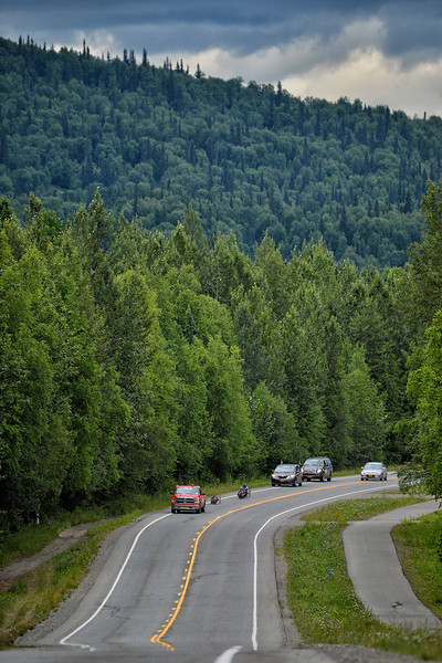 July 20, 2013: Sadler's Alaska Challenge Stage Six from Denali View South to Talkeetna Alaskan Lodge. A group of handcyclists race along Talkeetna Spur Road during stage six.