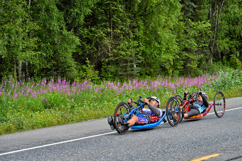 July 20, 2013: Sadler's Alaska Challenge Stage Six from Denali View South to Talkeetna Alaskan Lodge. Michael Bishop (Beech Island, S.C.) and Thea Rosa (Cool, Calif.) race along the Parks Highway during stage six.