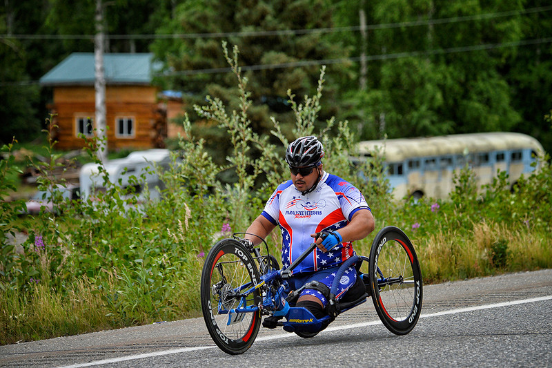 July 17, 2013: Sadler's Alaska Challenge Stage Two - Ester, Alaska to Nenana, Alaska. Joseph Beimfohr (Wesley Chapel, Fla.) races along the Parks Highway during stage two from Ester, AK to Nenana, AK. Beimfohr finished the 46.3 mile stage in 4:50:37.