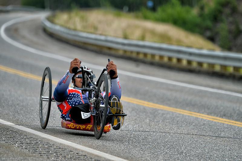July 17, 2013: Sadler's Alaska Challenge Stage Two - Ester, Alaska to Nenana, Alaska. Gerard Ah Fook (Tucson, Ariz.) races on the Parks Highway during stage two from Ester, AK to Nenana, AK. Ah Fook finished the 46.3 mile stage in 3:34:38.