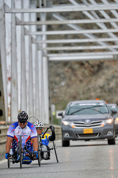 July 17, 2013: Sadler's Alaska Challenge Stage Two - Ester, Alaska to Nenana, Alaska. Joseph Beimfohr (Wesley Chapel, Fla.) and Karin Korb (N. Lauderdale, Fla.) cross the Alaska Native Veterans Honor Bridge during stage two from Ester, AK to Nenana, AK.