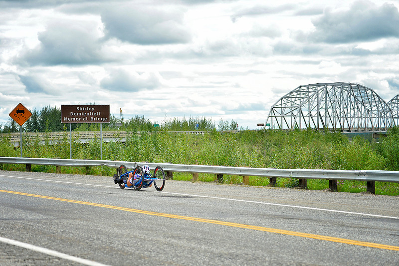 July 17, 2013: Sadler's Alaska Challenge Stage Two - Ester, Alaska to Nenana, Alaska. A racer nears the Shirley Demientieff Memorial Bridge during stage two from Ester, AK to Nenana, AK.