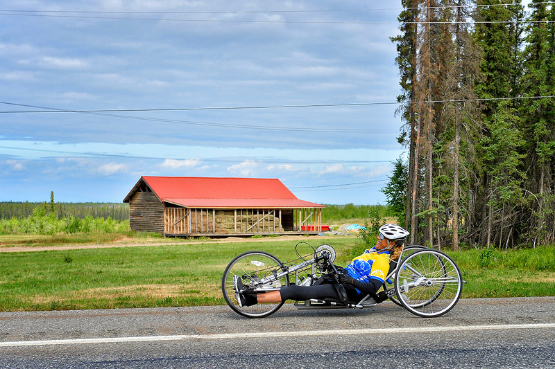 July 17, 2013: Sadler's Alaska Challenge Stage Two - Ester, Alaska to Nenana, Alaska. Karin Korb (N. Lauderdale, Fla.) races on the Parks Highway during stage two from Ester, AK to Nenana, AK. Korb finished the 46.3 mile stage in 4:50:37.