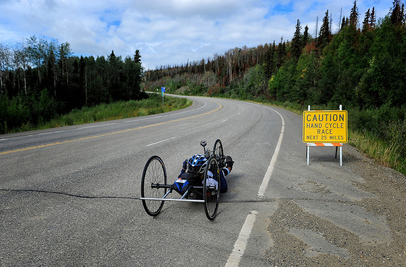 July 17, 2013: Sadler's Alaska Challenge Stage Two - Ester, Alaska to Nenana, Alaska. Thea Rosa (Cool, Calif.) races on the Parks Highway during stage two from Ester, AK to Nenana, AK.