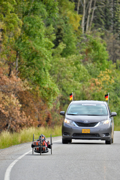July 17, 2013: Sadler's Alaska Challenge Stage Two - Ester, Alaska to Nenana, Alaska. Peer Bartels (Leer, Germany) races on the Parks Highway during stage two from Ester, AK to Nenana, AK. Bartels finished the 46.3 mile stage in 2:52:46.