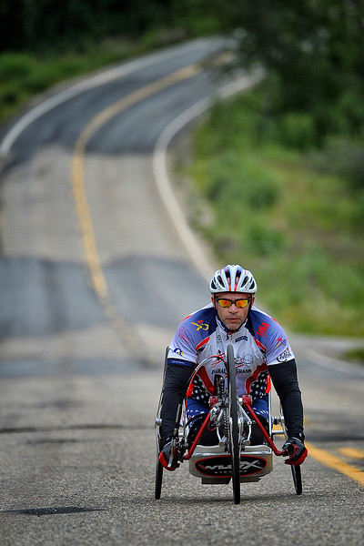 July 17, 2013: Sadler's Alaska Challenge Stage Two - Ester, Alaska to Nenana, Alaska. Robert Puckett III (St. Petersburg, Fla.) races on the Old Nenana Highway during stage three from Ester, AK to Nenana, AK. Puckett finished the 46.3 mile stage in 3:18:42.