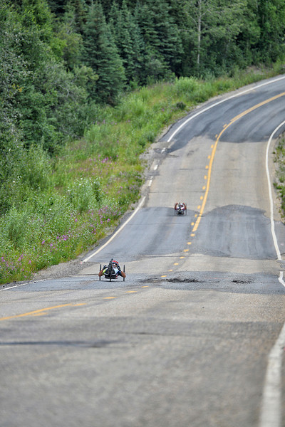 July 17, 2013: Sadler's Alaska Challenge Stage Two - Ester, Alaska to Nenana, Alaska. Rafal Wilk (Rzezow, Poland) and Walter Ablinger (Rainbach, Austria) race on the Old Nenana Highway during stage two from Ester, AK to Nenana, AK.