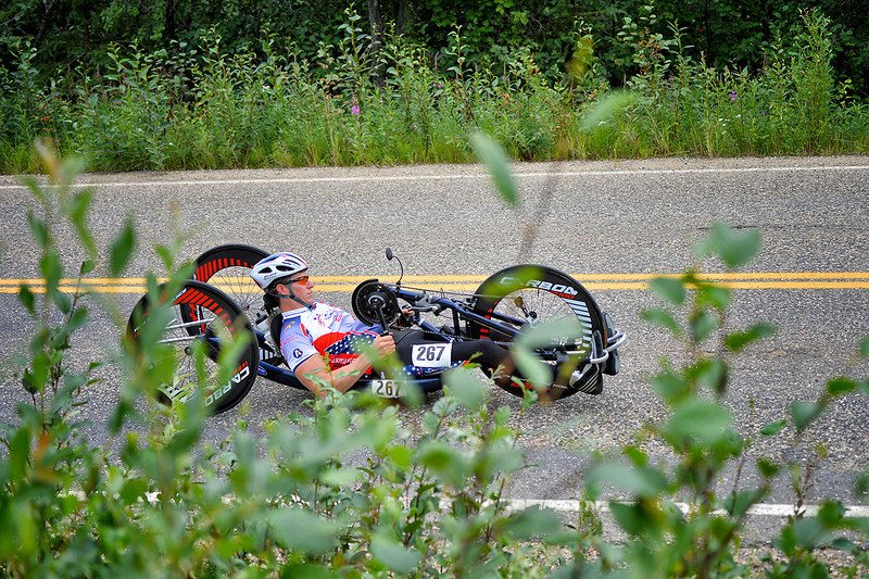 July 17, 2013: Sadler's Alaska Challenge Stage Two - Ester, Alaska to Nenana, Alaska. Jacob Freeland (Asheville, N.C.) races on the Old Nenana Highway during stage two from Ester, AK to Nenana, AK. Freeland finished the 46.3 mile stage in 3:51:25.