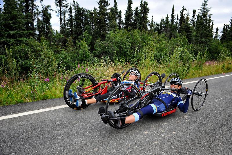 July 17, 2013: Sadler's Alaska Challenge Stage Two - Ester, Alaska to Nenana, Alaska. Thea Rosa (Cool, Calif.) and Carrie Finale (Navarre, Fla.) race on the Old Nenana Highway during stage two from Ester, AK to Nenana, AK.