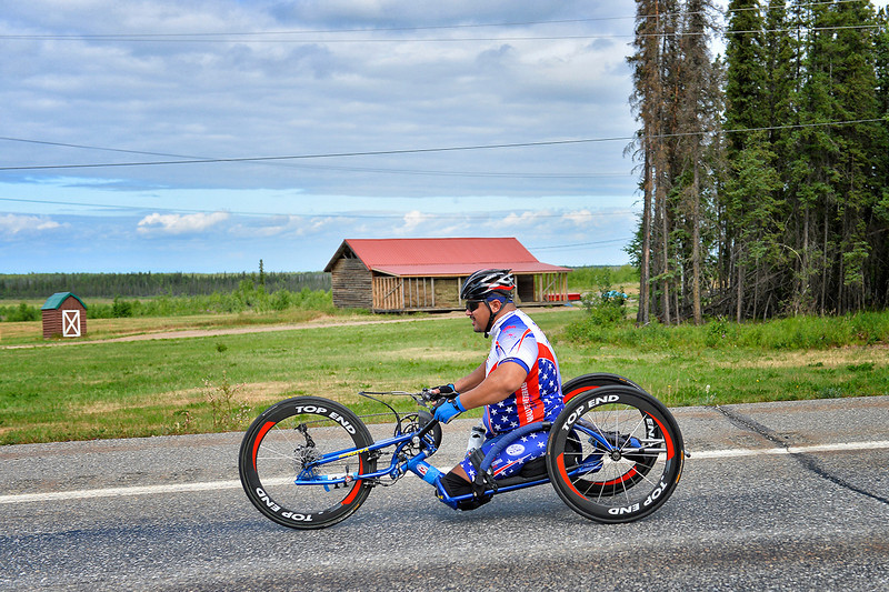 July 17, 2013: Sadler's Alaska Challenge Stage Two - Ester, Alaska to Nenana, Alaska. Joseph Beimfohr (Wesley Chapel, Fla.) races along the Parks Highway during stage two from Ester, AK to Nenana, AK. Beimfohr finished the stage in 4:50:37.