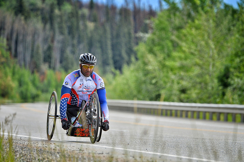 July 17, 2013: Sadler's Alaska Challenge Stage Two - Ester, Alaska to Nenana, Alaska. Alfredo de los Santos (Hopewell Junction, N.J.) races on the Parks Highway during stage two from Ester, AK to Nenana, AK. de los Santos finished the 46.3 mile stage in 2:58:25.