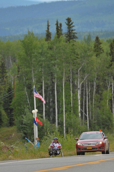July 17, 2013: Sadler's Alaska Challenge Stage Two - Ester, Alaska to Nenana, Alaska. Larry Coutermarsh (North Pole, AK) races on the Parks Highway during stage two from Ester, AK to Nenana, AK.