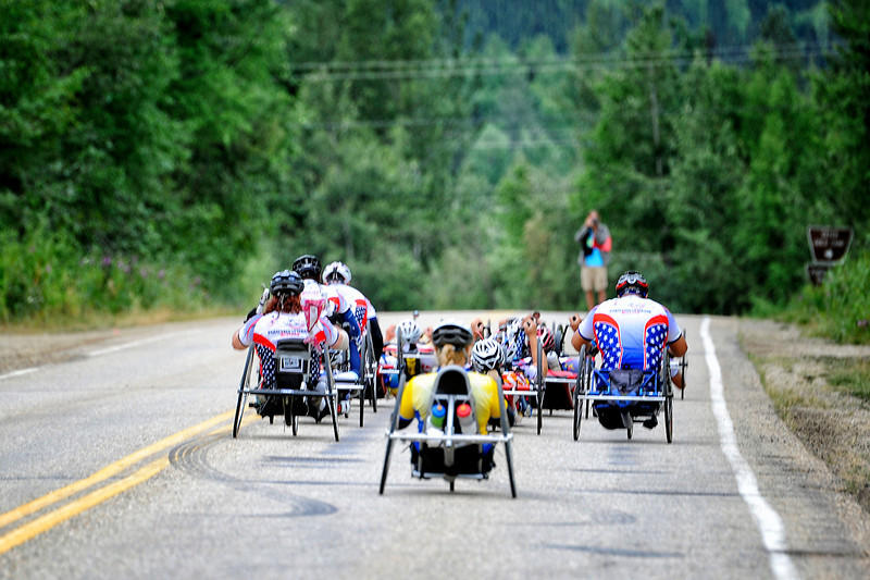 July 17, 2013: Sadler's Alaska Challenge Stage Two - Ester, Alaska to Nenana, Alaska. The racers head down the Old Nenana Highway at the start of stage two from Ester, AK to Nenana, AK.