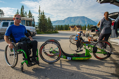July 25, 2015: Ryan Kelling poses for a photo before the start of stage five of the 2015 Alaska Challenge handcycle race.