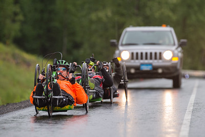 July 26, 2015: Ryan Kelling leads a group of racers during stage seven of the 2015 Alaska Challenge handcycle race.