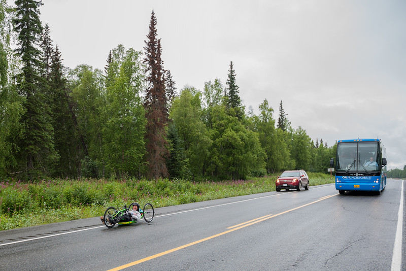 July 26, 2015: Mike O'Neill races along the Parks Highway during stage seven of the 2015 Alaska Challenge handcycle race.