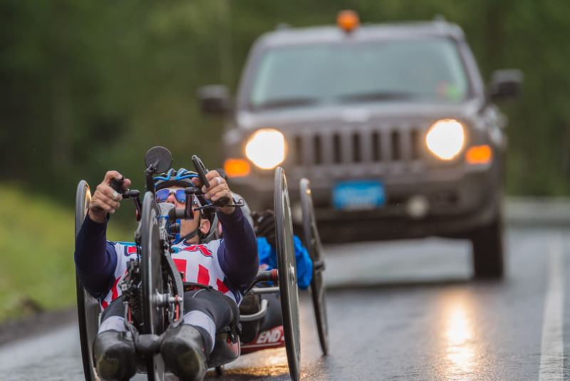 July 26, 2015: Anthony Pedeferri races along the Parks Highway during stage seven of the 2015 Alaska Challenge handcycle race.