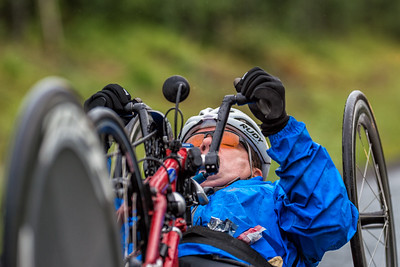 July 26, 2015: Wesley Bergin races along the Parks Highway during stage seven of the 2015 Alaska Challenge handcycle race.