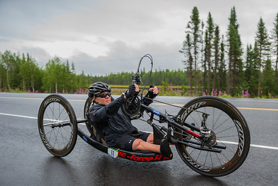 July 26, 2015: Ashli Molinero races along the Parks Highway during stage seven of the 2015 Alaska Challenge handcycle race.