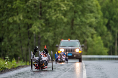 July 26, 2015: Muffy Davis races along the Parks Highway during stage seven of the 2015 Alaska Challenge handcycle race.