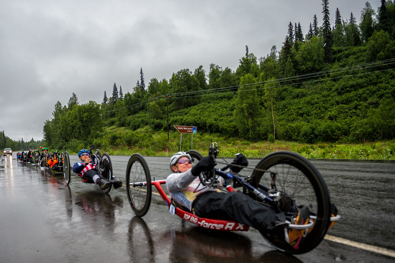 July 26, 2015: Races start stage seven of the 2015 Alaska Challenge handcycle race.