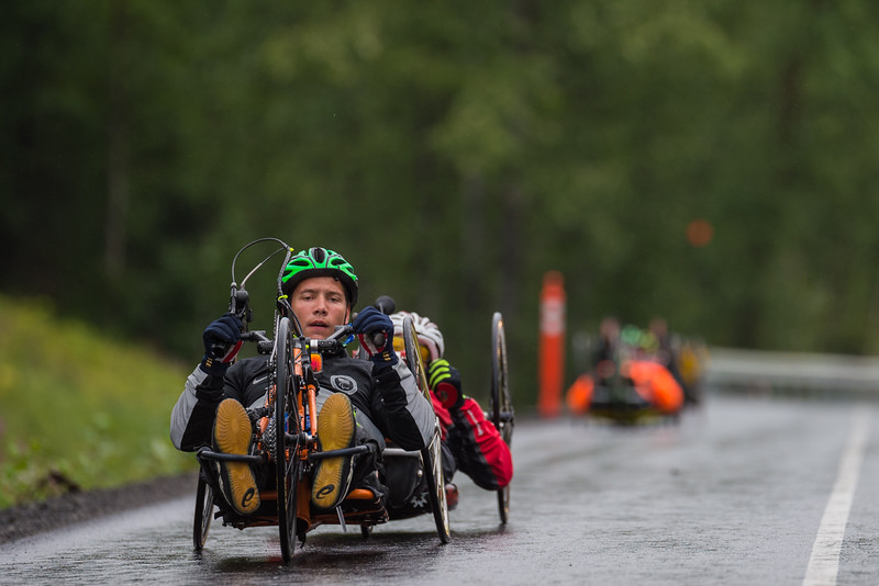 July 26, 2015: Andrew Kurka leads a group of racers during stage seven of the 2015 Alaska Challenge handcycle race.