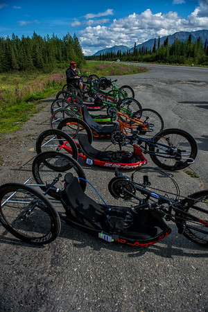 July 25, 2015: Bikes are staged before the start of stage six of the 2015 Alaska Challenge handcycle race.