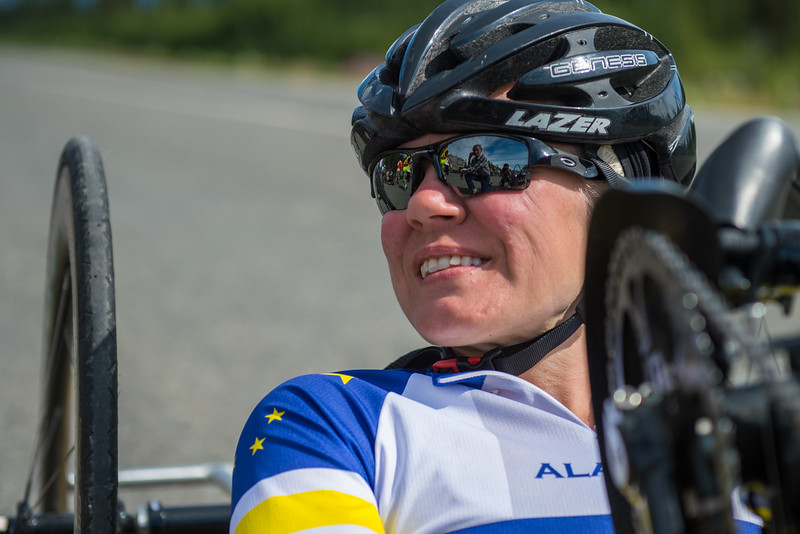 July 25, 2015: Ashli Molinero waits for the start of stage six of the 2015 Alaska Challenge handcycle race.