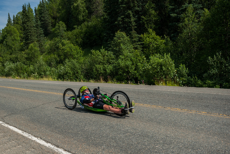 July 25, 2015: Keith Winchell races along the Parks Highway during stage six of the 2015 Alaska Challenge handcycle race.